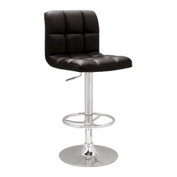 "Chintaly Imports - Black Pneumatic Gas Lift Adjustable Height Swivel Stool - Modern Pneumatic gas lift adjustable height swivel bar/counter stool. Decorative stitched cushion upholstery in durable black or white polyurethane. Height smoothly adjusts from 25""-33�. Quite an inviting place to sit. It has a full ring chrome comfort foot rest, chrome column and base."