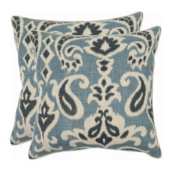 Safavieh - Safavieh Dylan Pillow (2) X-2TES-8181-C438LIP - Reminiscent of the calico designs imported from India famously printed in by French artisans in Provence, the porch blue paisley motif of this accent pillow enlivens a soft and organic fabric of cotton and linen blend.