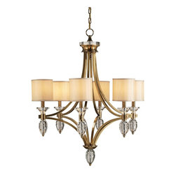 Currey and Company - Sebastian Chandelier - Brass and crystal combine to create this striking lighting fixture. The brass is finished in Coffee Bronze and the crystal sparkles with clear brilliance. Beige Shantung shades are included. There is a matching wall sconce.