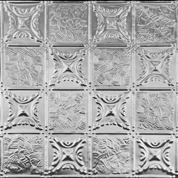 0610 Tin Ceiling Tile - Classic - GRANDMA'S QUILT - Real Tin Ceiling Tiles are made out of Tin Plated Steel and must be primed and painted from both sides to prevent corrosion. You may have read that these tiles were invented because Plaster Ceilings were too hard and too messy to make and not many people could afford them.  The truth is that people want beautiful ceilings and Tin Ceilings are definetly just that.  Mostly popular in The USA but also used in Canada, Europe & Australia.  Yes, these tiles are great to add beauty to your space but also to cover the damaged ceilings or walls that you just can not find anyone to restore at reasonable cost.  We carry about 200 different patterns from 3x3 to 24x24 patterns.  So how can these tiles be used on your ceiling?  There are two ways.  They could be nailed to your ceiling or dropped into your grid system.  We do have the real tin but as I have mentioned, it is our most economical metal tile starting only at $7.75 per tile and it does have to be primed and painted to prevent rust.   So if this is no problem this is the best option for you as you can save some money and get beautiful look.
