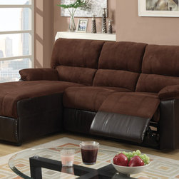 Chocolate Microfiber Reclining Sectional Sofa Set Recliner Left Chaise -