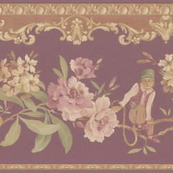 Brewster - Burgundy Monkey Floral Border Wallpaper - This adorable Burgundy Monkey Floral Border will add a splash of charm to your home. A pleasant floral border with a subtle money resting on the stems of flowers will enchant your home.