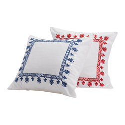 Coyuchi - Coyuchi Aari Embroidered Shams, Whitew/Royal Blue, Euro - Lavish hand-guided embroidery frames the bed in texture and color. The intricate pattern of leafy, blooming vines is set against pure white cotton for a look that's festive and fresh.  Shams sold Individually.