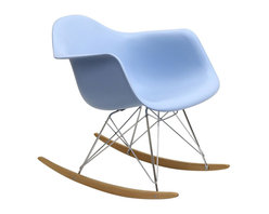 "Modway - Rocker Rocking Chair in Blue - Not Grandma's rocking chair, this mid-century retro modern rocker, has the avant garde style of today that adds pizzazz to your room. Still a comfortable seat for lulling children to sleep or moving in time to music, this rocking chair is the symbol of the modern home. Includes: One - Molded Plastic Rocking Chair; Steel Base; ABS Plastic Seat; Solid Wood Rocker Bottoms; Dimensions: 27""L x 24""W x 26""H; Seat: 17""L x 16""W x 16""H; Armrest Height: 23""H"