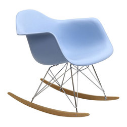 """Modway - Rocker Rocking Chair in Blue - Not Grandma's rocking chair, this mid-century retro modern rocker, has the avant garde style of today that adds pizzazz to your room. Still a comfortable seat for lulling children to sleep or moving in time to music, this rocking chair is the symbol of the modern home. Includes: One - Molded Plastic Rocking Chair; Steel Base; ABS Plastic Seat; Solid Wood Rocker Bottoms; Dimensions: 27""""L x 24""""W x 26""""H; Seat: 17""""L x 16""""W x 16""""H; Armrest Height: 23""""H"""