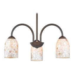 Design Classics Lighting - Chandelier with Mosaic Glass in Bronze Finish - 592-220 GL1026D - Mosaic glass neuvelle bronze 3-light chandelier light with dome glass shades. Takes (3) 100-watt incandescent A19 bulb(s). Bulb(s) sold separately. UL listed. Dry location rated.