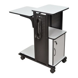 Luxor - Luxor Mobile Laptop Computer Presentation Cart with Security Cabinet - WPS4CE - Shop for Lecterns from Hayneedle.com! The Luxor Mobile Laptop Computer Presentation Cart with Security Cabinet shows ornate embellishments are nice but they're not up to presentations of your caliber. You demand performance and for that reason this cart offers commercial-grade laminate construction four work surfaces capable 3-inch casters (two locking) and a three-outlet electrical fixture with a 15-foot cord. Lock up valuable items in the lower security cabinet with the pair of included keys. Finally a cart as confident as your presentation style. About LuxorLocated in northern Illinois Luxor designs distributes and markets an extensive line of quality specialty furniture for offices schools libraries health care and automotive facilities. These high-quality cost-effective products improve workplace efficiency performance and productivity. Luxor's diverse product line includes mobile equipment tables computer workstations television mounting systems book trucks and more to keep your supplies organized and mobile. Each product is crafted from durable materials and is backed by a generous lifetime guarantee. Luxor is continually assessing the ever-changing needs of the workplace and developing new innovative products to address these needs. Use these versatile products for a variety of applications to improve the comfort of your work environment.