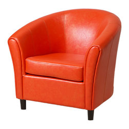 Great Deal Furniture - Newport Orange Leather Club Chair - Great looking accent club chair with the contemporary tub design.  High arm rests and back make for a very comfortable chair.