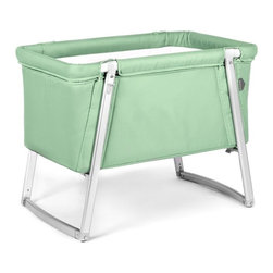 BabyHome - BabyHome Dream Portable Crib in Mint - Dream is an extremely lightweight cot with an aluminum frame that is easy to assemble/disassemble. Its innovative adjustable leg system allows, with the click of a button, to change the leg position from stationary to a rocker to wheels that allow Dream to be easily moved around the house. The fabric can be removed from the aluminum frame and washed. Dream comes with a high-density foam mattress that prevents the baby from getting caught between the edge of the mattress and side of the cot and a honeycomb structured mattress pad that is safe and breathable.