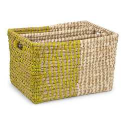 iMax - iMax Harvey Two Tone Magazine Rack X-59648 - Beautifully crafted, the Harvey two-tone magazine rack features a green and white design perfectly complementing the natural fiber weaving.