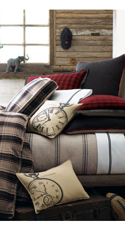 """French Laundry Home - French Laundry Home Plaid Twin Duvet Cover - Plaids and stripes mixed to perfection. Plaid linens are cotton; striped pieces are cotton/linen. Tailored gray striped dust skirts have an 18"""" drop. From French Laundry Home. Hand-sewn linen pillows have hand-printed designs. Dry clean. Imported/USA. ...."""