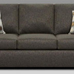 Chelsea Home - Talbot Queen Sleeper Sofa - Includes toss pillows and 4 in. inner spring mattress. Transitional style. Vivid onyx cover. Seating comfort: Medium. Kiln-dried hardwood frame. Stress points are reinforced with blocks to secure long lasting frame. Attached back cushions. Sinuous springing system manufactured with reinforced 16-gauge border wire. Double springs are used on the ends nearest the arms to give balance in the seating. Hi-density foam cores with dacron polyester wrap cushions. Made from 53% polyester and 47% polypropylene. Made in USA. No assembly required. 82 in. L x 38 in. W x 38 in. H (220 lbs.)