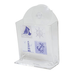 Printed Acrylic Cotton Swabs Dispenser + 2 Suction Pads Key West Blue - This printed cotton swab dispenser Key west for bathrooms is in clear acrylic with maritime patterns. It has 1 suction pad to be easily fixed to your tiles or mirrors. A bottom opening dispenses cotton swabs. Filling through the top. Length 5.12-Inch, width 3.74-Inch and height 1.97-Inch. Wipe clean with a damp cloth. Color blue. This dispenser is ideal to keep and dispense cotton swabs and to add an elegant design to your bathroom! Complete your Key west decoration with other products of the same collection. Imported.