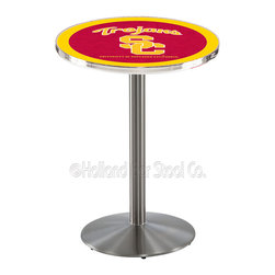 Holland Bar Stool - Holland Bar Stool L214 - Stainless Steel Usc Trojans Pub Table - L214 - Stainless Steel Usc Trojans Pub Table belongs to College Collection by Holland Bar Stool Made for the ultimate sports fan, impress your buddies with this knockout from Holland Bar Stool. This L214 USC Trojans table with round base provides a commercial quality piece to for your Man Cave. You can't find a higher quality logo table on the market. The plating grade steel used to build the frame ensures it will withstand the abuse of the rowdiest of friends for years to come. The structure is 304 Stainless to ensure a rich, sleek, long lasting finish. If you're finishing your bar or game room, do it right with a table from Holland Bar Stool. Pub Table (1)