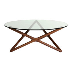 #N/A - Amal coffee table - Amal coffee table. Amal Coffee table consists of two parts: a beautiful thick glass top and solid wood base in walnut natural color ,it gives the impression of both sturdiness and lightness.This exceptional reproduction is made from the highest quality materials and workmanship to provide you with countless years of enjoyment. Simple assembly required.