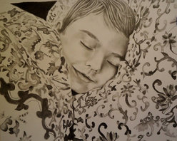 sleeping Artwork - Pencil portrait of Omar sleeping