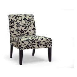 Baxton Studio - Baxton Studio Phaedra Leaf Silhouette Modern Slipper Chair - With looks this inviting, you might be tempted to stare instead of sit down. Either way, you're a winner. Linen fabric and foam cushioning combine for outstanding comfort. Black leaf vine silhouette print and contoured legs entice the eye. Make a contemporary stylistic statement with our Phaedra Leaf Silhouette Modern Slipper Chair.