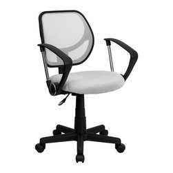 Flash Furniture - Computer Mesh Adjustable Task Chair w Casters - 2 in. thick padded seat with mesh upholstery. Standard swivel chair mechanism. Pneumatic seat height adjustment. Black nylon base. Dual wheel casters. Warranty: 2 year limited. Assembly required. Back: 16 in. W x 16 in. H. Seat: 17.5 in. W x 16.25 in. D. Seat Height: 15.5 - 19.5 in.. Arm Height from Floor: 23.5 - 27.5 in.. Arm Height from Seat: 8.5 in.. Overall: 21.5 in. W x 22.5 in. D x 30.5 - 34.5 in. H (36 lbs.)