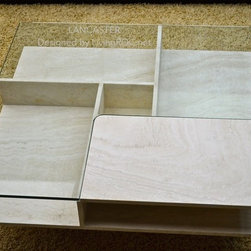 """LANCASTER 39""""x39""""x14"""" TRAVERTINE MARBLE COFFEE TABLE - Reference: CT208+CT208GLASS"""