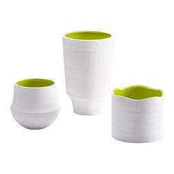 Cyan Design - Cyan Design Havilland Vase in White and Green - Havilland Vase in White and Green