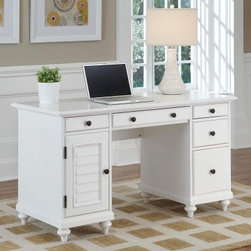 Home Styles Bermuda Brushed White Pedestal Desk - The simplified British colonial design of the Home Styles Bermuda Brushed White Pedestal Desk provides a historic yet up-to-date look that's suitable for any decor or home office. Turned bun feet and antiqued brass floral-style drawer knobs are complemented by a shutter-style storage door for a touch of tropical ease. There's plenty of dedicated and multi-purpose storage inside, including a center drop-down drawer for your keyboard tray, three storage drawers, a large file drawer, and a storage shelf behind the door that can be removed to create a discreet PC tower storage area (cable access openings are included).About Home Styles?Home Styles is a manufacturer and distributor of RTA (ready to assemble) furniture perfectly suited to today's lifestyles. Blending attractive design with modern functionality, their furniture collections span many styles from timeless traditional to cutting-edge contemporary. The great difference between Home Styles and many other RTA furniture manufacturers is that Home Styles pieces are crafted from solid wood, and feature quality hardware that will stand up to years of use. When shopping for convenient, durable items for the home, look to Home Styles. You'll appreciate the value.