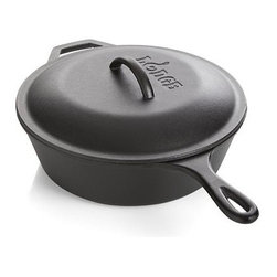 Lodge® Cast Iron Deep Skillet - Grandma was on to something with the timeless cast iron skillet, preferred by many chefs. With all the benefits of cooking with cast iron without the hassle of seasoning, this ready-to-use pre-seasoned pan gives that homespun cast iron appeal and solid performance. The process of seasoning is done with a proprietary, high-density vegetable oil formula that is sprayed on electrostatically and then heated in industrial-grade gas ovens to ensure deep penetration into the cast iron surface. Renowned for its superior heat retention, cast iron also keeps its cool to serve chilled salads, desserts and cold dishes—and this deep, lidded skillet is ideal for taking foods to picnics and potlucks. Can be used on induction ranges and ceramic cooktops. Because of its extremely high heat retention, cast iron is a versatile material that can be used on almost any heat source—even over a grill or campfire. From pan-fried fish to cornbread, and pizza to bacon and eggs, cast iron skillets, griddles, pans and woks cook up an outdoor feast. This heavy-duty cookware serves up sides, too.