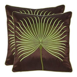 Safavieh Scarlet 18 in. Decorative Pillows - Green - Set of 2 - Create a stunning look in your home with the beautiful colors and abstract pattern of the Safavieh Scarlet 18 in. Decorative Pillows - Green - Set of 2. Crafted from 100% polyester, these throw pillows have a hidden zipper and a hypoallergenic fiberfill insert. Spot cleaning is recommended. About SafaviehConsidered the authority on fine quality, craftsmanship, and style since their inception in 1914, Safavieh is most successful in the home furnishings industry thanks to their talent for combining high tech with high touch. For four generations, the family behind the Safavieh brand has dedicated its talents and resources to providing uncompromising quality. They hold the durability, beauty, and artistry of their handmade rugs, well-crafted furniture, and decorative accents in the highest regard. That's why they focus their efforts on developing the highest quality products to suit the broadest range of budgets. Their mission is perpetuate the interior furnishings craft and lead with innovation while preserving centuries-old traditions in categories from antique reproductions to fashion-forward contemporary trends.