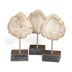 Kathy Kuo Home - Rustic Lodge Petrified Wood Slices on Marble Stands - Set of 3 - Three unique slices of petrified wood become art when mounted on cubes of marble. Each petite piece is one of a kind, varying in color from cream to light tan to black. Add a modern, natural element to a console table, shelf or curio cabinet.