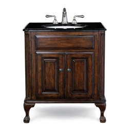 "Cole & Co. - Cole & Co. Custom Collection 31"" Estate Vanity - Medium in Antique Brown - Cole & Company combines great design with great flexibility, allowing you to mix and match size, finish, and style to create your own perfect bathroom vanity. This traditional chest is made of the finest select alder solids and cherry veneers, distressed and then finished in our old-world finish and completed with antique bronze hardware. The Classic features raised panel ends and hard-carved Queen Anne legs. The Estate features raised panel ends and ball-and-claw legs. Cole & Co. offers a coordinated selection of stone tops, and a wide selection of sinks so you can create your own custom look. All tops are pre-cut for a 14"" x 17"" undermount sink (including the Cole & Co. Hampton sink in biscuit and white porcelain). Available in 25"", 31"" and 37"" widths, as well as 5 stone top options and 2 sink choices to complement the finish. Your Cole & Co. quality vanity is a significant investment expected to last for generations. To maintain its beauty and help it last, please refer to the Custom Collection product information sheet and the Care & Cleaning FAQ. Each piece is handmade and finished and actual color may vary. Information regarding the return policy of your Cole & Co. product is available here. If you have any questions, please contact us before ordering. Features: Completely hand made Antique Brown 31""W x 22""D x 35 1/4""H Faucet(s) not included Sink(s) not included Pre-cut for standard 8"" widespread faucetMinimal assembly required How to handle your counter Natural stone like marble and granite, while otherwise durable, are vulnerable to staining from hair dye, ink, tea, coffee, oily materials such as hand cream or milk, and can be etched by acidic substances such as alcohol and soft drinks. Please protect your countertop and/or sink by avoiding contact with these substances. For more information, please review our ""Marble & Granite Care"" guide."