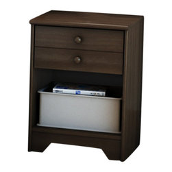 South Shore - South Shore One Drawer Shaker Style Newton Nightstand in Moka Finish - South Shore - Nightstands - 2779062 - This shaker-style night stand offers an open storage compartment and the practicality of a closed drawer. The drawer front features a decorative horizontal groove giving the impression of two smaller drawers. The simplicity of this piece is complemented by round handles in a Moka finish. Also available in Natural Maple finish.