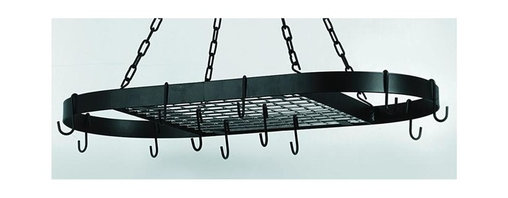 Old Dutch International - Oval Matte Black Hanging Pot Rack - Includes 12 hooks. Includes 4, 23 in. Hanging chains. Traditional style. Made from powder coated steel. Hook Length: 3.25 in.. 32.5 in. L x 17 in. W x 2 in. H