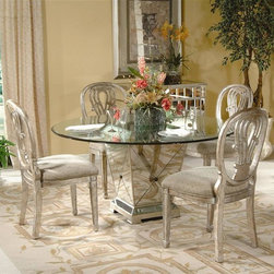 Bassett Mirror - Glass Top Pedestal Dining Table in in Antique - Six can sit comfortably and in style at this exquisite formal dining table.  The crystal clear top is a full sixty inches round for optimum seating.  The incredible tapered pedestal base is covered in panels of gleaming antique silver mirror for an amazing finish.  No one will ever guess how little you paid for this glamorous set. Borghese Collection. Chairs sold separately. Display on top of the table not included. 0.5 in. Clear glass eurogee table top. Hand-worked and beveled antique mirror over veneers and hardwood solids. All mirror edges are encapsulated in a wood frame. Antique Silver finish. Dimensions:. Round table top: 60 in. Dia. (150 lbs.). Pedestal dining base: 22 in. L x 22 in. W x 29 in. H (165 lbs.)