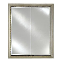Afina - Recessed Double Door Cabinet (24 in. W x 4.38 in. D x 30 in. H) - Choose Size: 24 in. W x 4.38 in. D x 30 in. H. 0.75 in. perimeter bevel mirror standard. 0.38 in. thick adjustable glass shelves. Front bevel mirror, mirror behind door and inside mirror back mirror design. Made from gray satin anodized aluminum. Parisian silver color. Small: 24 in. W x 4.38 in. D x 30 in. H. Large: 31 in. W x 4.38 in. D x 36 in. H. Assembly Instructions
