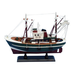 """Handcrafted Model Ships - Stars and Stripes 16"""" - Wood Fishing Boat Model - Not a model ship kit"""