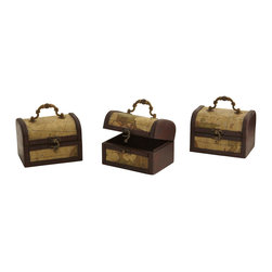 Nearly Natural - Decorative Chest with Map (Set of 3) - Here's a timeless decoration that will be certain to please. These wonderful decorative chests would look great if they were plain, but plain they are not. Instead, they are adorned with old-style maps, giving them an antique, classic look of times gone by. This is a set of three, so there are plenty to go around - put one in your home, another in your office, maybe one in the den, who knows what treasures will reside within.