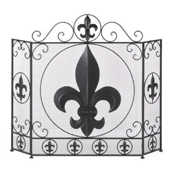 Fleur-De-Lis - Fleur-De-Lis Fireplace Screen - This stylish fireplace screen makes a big statement in your chic decor.  The center panel of this  tri-fold screen features a large fleur-de-lis symbol surrounded by metal flourishes and smaller versions. The side panels mimic the central design and are adjustable to fit into your space.