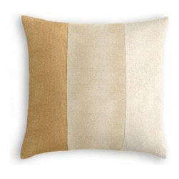 Gold, Champagne & Ivory Metallic Custom Color Block Pillow - One, two, three stripes your in...with the color block trend, that is!  While the Color Block Throw Pillow may be particularly on trend now, its bold graphic look will never go out of style. We love it banded in gold, champagne & ivory metallic linen.