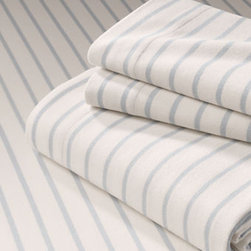 Flannel Yarn Dyed Stripe Sheet Set - Just like the ticking stripe of an old camp mattress, you can cozy up in these watery blue, striped flannel sheets.