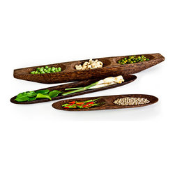Vance Kitira - Palm Wood Snack Trays - Carved from a solid piece of natural wood. Two sectional tray. Eco-friendly, sustainable product created from palm wood.