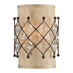 "Traditional Jeweled Golden Bronze 11"" High Wall Sconce"