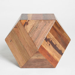 Faceted Woodblock Side Table - I'm totally obsessed with this faceted geometric woodblock side table. Talk about a conversation starter!