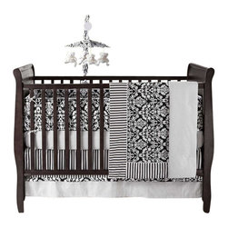 Bananafish - Taylor 4-Piece Crib Bedding Set by Bananafish - Stylish and perfect for boys or girls, this snazzy black and white crib bedding ensemble is elegant and gender neutral. The four-piece cotton set goes with everything and will always look neat and chic amid the potential chaos. Consider painting a wall a bright red or adding splashes color to the mix.