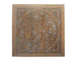 "Golden Lotus - Chinese Square Phoenix Dragon Wood Wall Decor Panel - Dimensions:  39"" x 39"" x thickness 1.5"""