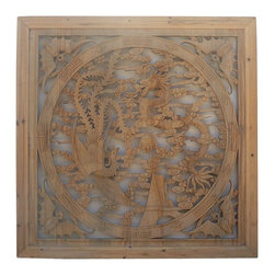 """Golden Lotus - Chinese Square Phoenix Dragon Wood Wall Decor Panel - Dimensions:  39"""" x 39"""" x thickness 1.5"""""""