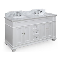 Kitchen Bath Collection - Elizabeth 60-in Double Sink Bath Vanity (Carrara/White) - This bathroom vanity set by Kitchen Bath Collection includes a white cabinet with soft-close drawers and self-closing door hinges, Italian Carrara marble countertop with stunning beveled edges (an incredible 1.5 inches thick at the edge!), undermount ceramic sinks,pop-up drains, and P-traps. Order now and we will include the pictured three-hole faucet and a matching backsplash as a free gift! All vanities come fully assembled by the manufacturer, with countertop & sink pre-installed.