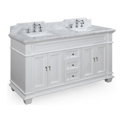 Kitchen Bath Collection - Elizabeth 60-in Double Sink Bath Vanity (Carrera/White) - This bathroom vanity set by Kitchen Bath Collection includes a white cabinet with soft-close drawers and self-closing door hinges, Italian Carrera marble countertop with stunning beveled edges (an incredible 1.5 inches thick at the edge!), undermount ceramic sinks,pop-up drains, and P-traps. Order now and we will include the pictured three-hole faucet and a matching backsplash as a free gift! All vanities come fully assembled by the manufacturer, with countertop & sink pre-installed.