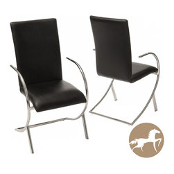 Christopher Knight Home - Christopher Knight Home Lydia Black Leather/ Chrome Chairs (Set of 2) - Add much-needed seating to your home with this pair of Christopher Knight Home chairs. These chairs feature chrome bases and black corrected-grain leather upholstery, allowing them to blend naturally into the decorating scheme of any room.