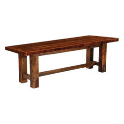 Fireside Lodge - Barwood Bench 72 inches long Artisan Top - This Barnwood Bench is from Fireside Lodge is 72 inches long. That's a whole 6 feet of sitting potential folks. Natural reclaimed wood (barnwood) with barnwood legs, this makes a great bench for just inside the door when the kids are taking off their muddy boots, or pair it with one of our farmhouse tables to consolidate seating space. A great option if you have a lot of smaller children at your table, or if guests pop in now and then. A barnwood bench can also be turned into a unique display area for knick knacks, potted plants that need a little more height to take in the sunlight, or even a resting place around the outdoors firepit. Made in the USA with a dull catalyzed lacquer finish to help protect the wood's natural character.