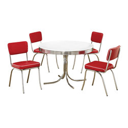 Adarn Inc - Retro Round Table Cushion Chair 5 PC Chrome Dining Set, White Table Red Chairs - Create a fun and unique dining area with the retro designs of this five piece dining set. The round top in a white finish, rippled chrome rim, and chrome single pedestal compose a distinctive look. The coordinating chrome plated side chairs feature a black cushioned seat and padded seat back, completing the 1950's diner appeal!