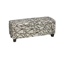 "Cortesi Home - Ziggy Storage Ottoman Bench - The funky Ziggy storage bench is upholstered in a soft beige fabric and features flocked black & silver lines. It also features a safety hinge top and a deep storage area measuring 10"" x 14"" x 40"".  Wood frame and black plastic non-marking legs. With its fun fabric pattern and functional storage space this is the standout piece in any home decor."